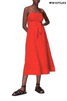 Whistles Red Tie Waist Linen Dress