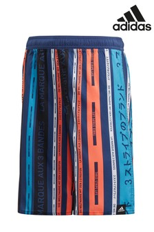 adidas Blue Stripe Swim Shorts