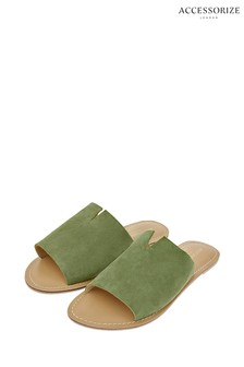 Accessorize Green Ellie Suede Sliders