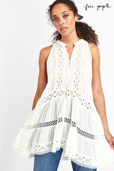 Free People White Adelaide Cut Out Tunic