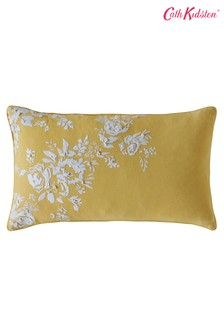 Cath Kidston Yellow Vintage Bunch Embroidered Floral Cotton Cushion