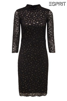 Esprit Black Leo Lace Knitted Dress With Shiny Details