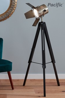 Hereford Black Wood Antique Brass Metal Tripod Floor Lamp by Pacific Lighting