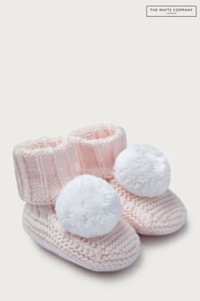 The White Company Pink Knitted Pom Pom Booties