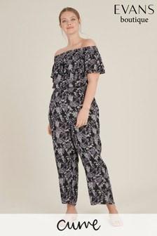 Evans Curve Black Palm Print Jumpsuit