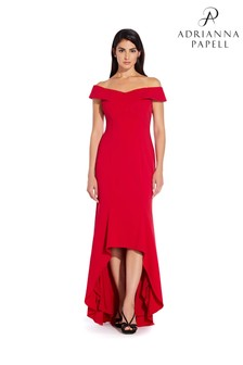 Adrianna Papell Red Off The Shoulder Wrap Gown