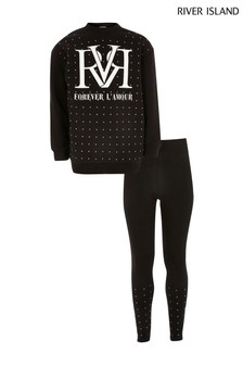 River Island Black All Over Diamanté Sweater And Legging Set