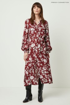 French Connection Red Aletta Crepe Shirt Dress
