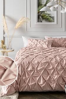 Pink All Over Pleated Velvet Duvet Cover and Pillowcase Set