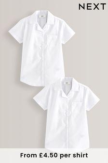 2 Pack Short Sleeve Revere Collar Shirts (4-17yrs)