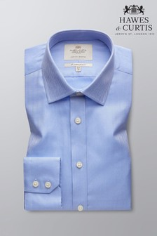 Hawes and Curtis Blue Slim Fit Herrinbone Single Cuff Shirt