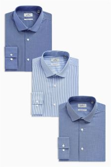 Striped And Plain Regular Fit Shirts Three Pack