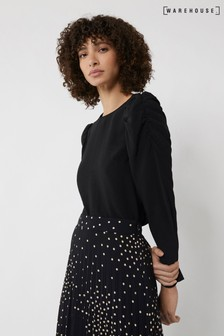 Warehouse Black Ruched Sleeve Top