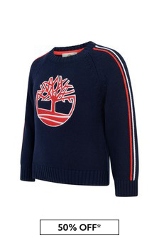 Boys Navy Cotton Knitted Sweater
