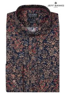 Jeff Banks Bronze Print Tailored Shirt with Cutaway Collar