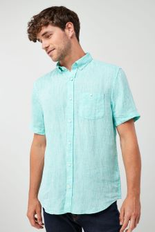 Green                     Short Sleeve Pure Linen Shirt
