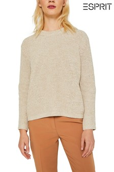 Esprit Long Sleeved Rib Structured Round Neck Sweater