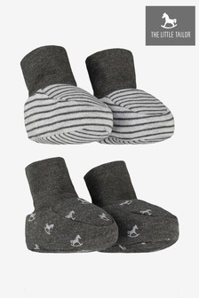 The Little Tailor Grey Rocking Horse Jersey Booties