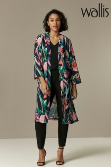 Wallis Navy Floral Duster Jacket
