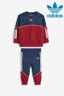 adidas Originals Infant Burgundy Outline Crew And Joggers Set