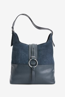 Leather And Suede Hardware Detail Hobo Bag
