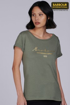 Barbour® International Metallic Script Logo Grid T-Shirt