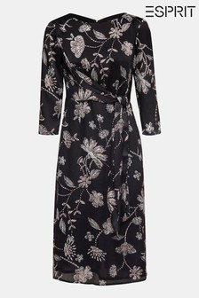 Esprit Black Flower Crinkled Satin Dress