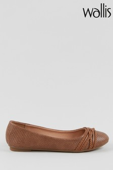 Wallis Wonderwall Tan Plait Ballerinas