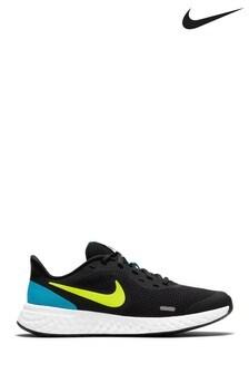 Nike Run Black/Blue Revolution 5 Youth Trainers
