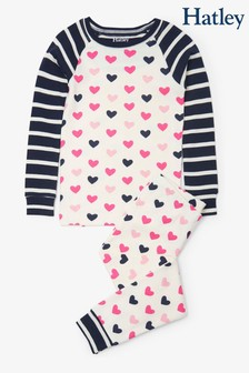 Hatley Natural Lovey Hearts Organic Cotton Raglan Pyjama Set