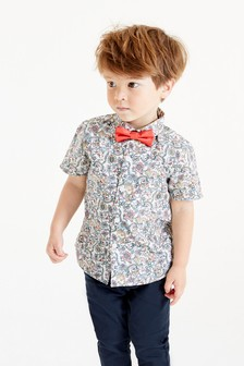 Short Sleeve Floral Shirt With Bow Tie (3mths-7yrs)
