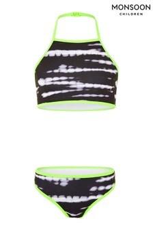 Monsoon Black Tie-Dye Bikini Set