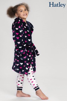 Hatley Blue Lovey Hearts Fleece Robe