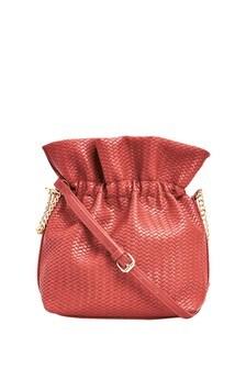 Embossed Weave Bucket Bag
