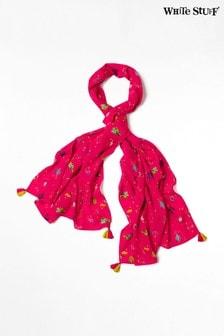 Różowy szalik z nierównej tkaniny White Stuff Simone