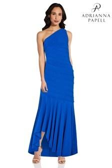 Adrianna Papell Blue Jersey Pintuck Gown