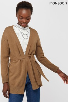 Monsoon Camel Tyra Tie Up Cardigan