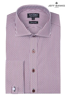 Jeff Banks Red Dobby Tailored Fit Shirt With Cutaway Collar