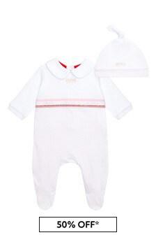 BOSS Baby Girls White Cotton Babygrow