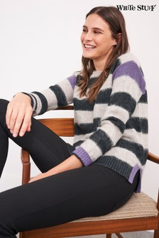 White Stuff Grey Fluid Stripe Jumper