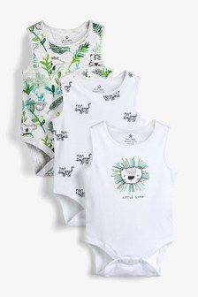 5 Pack Lion Vest Bodysuits (0mths-3yrs)