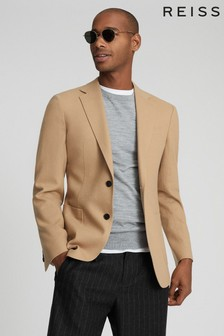 Reiss Tan Piazetta Brushed Wool Single Breasted Blazer