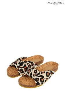 Accessorize Leopard Print Knotted Footbed Sandals