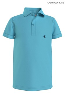 Calvin Klein Jeans Blue Monogram Fitted Polo