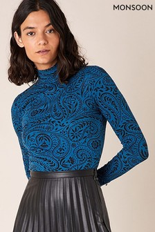 Monsoon Blue Paisley Printed Sustainable Polo Top