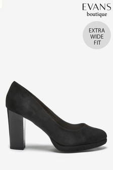 Evans Extra Wide Fit Black Platform Court Shoes