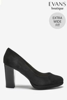 Evans Extra Wide Fit Black Platform Court Shoes