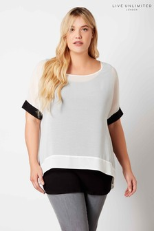 Live Unlimited Black/White Mono Blouse With Rib Cuff
