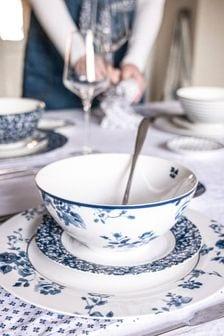 Set of 4 Blue Blueprint Collectables Bowls