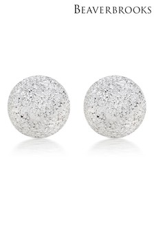 Beaverbrooks Silver Sparkle Cut Ball Stud Earrings